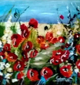 Łaka - obrazy ręcznie malowane - akryl na płótnie - różne , rozmiar 40 x40