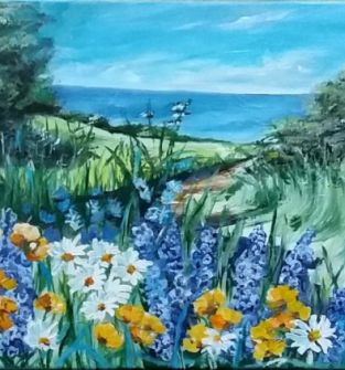 Niebieska łąka - obraz recznie malowany- akryl na płotnie