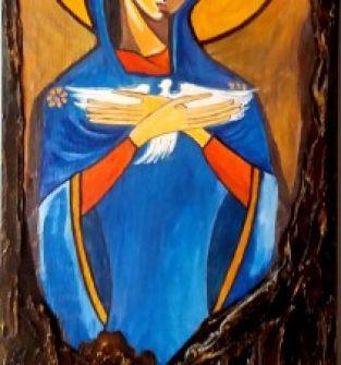 Ikona pisana na desce- Matka Boża PNEUMATOFORA